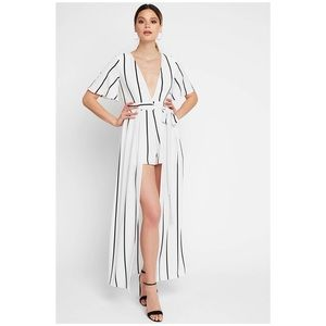 Haute Monde | Striped Romper Maxi Dress